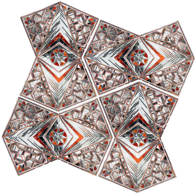 Monir Shahroudy Farmanfarmaian, Convertable Series, G6-V3, 2010 (mirror and reverse glass painting on plaster and wood, variable size.)